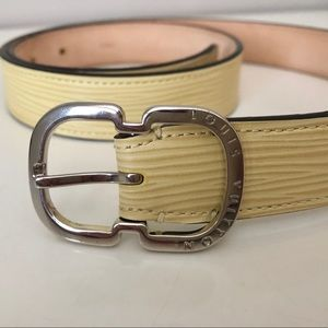 Louis Vuitton Mini Epi Leather Belt Creme Yellow